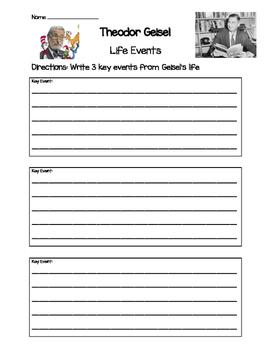 Theodor Geisel- Key Life Events Worksheet
