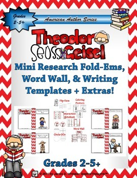 Theodor Seuss Geisel Mini Research Fold-Ems & Writing Templates