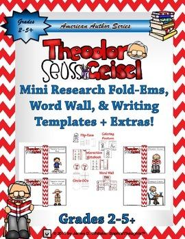 Theodor Seuss Geisel Mini Research Fold-Ems & Writing Templates