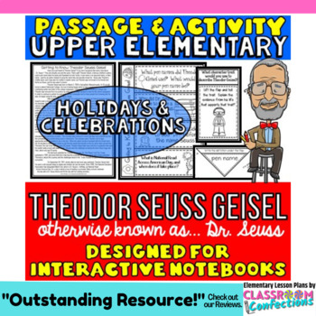 Theodor Seuss Geisel Passage and Questions: Interactive Notebooks: Dr. Suess