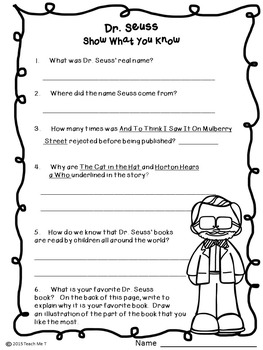 Theodor Seuss Geisel {Better Known As Dr. Seuss} Close Reading Activity