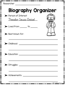 Theodor Seuss Geisel Biography and Printables