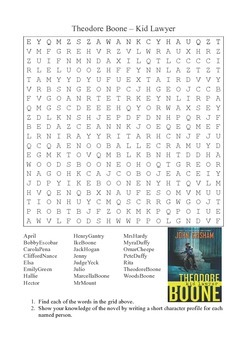 Theodore Boone by John Grisham - Characters Word Search