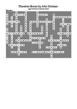 Theodore Boone by John Grisham - Vocabulary Crossword Puzzle