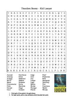 Theodore Boone by John Grisham - Vocabulary Word Search
