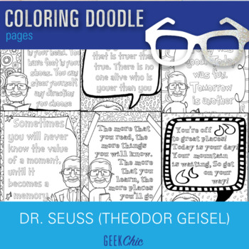 Theodor Geisel Dr. Seuss Growth Mindset Quotes Coloring Pages Coloring Doodles!