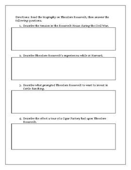 Theodore Roosevelt Biography with Reading Comprehension Questions