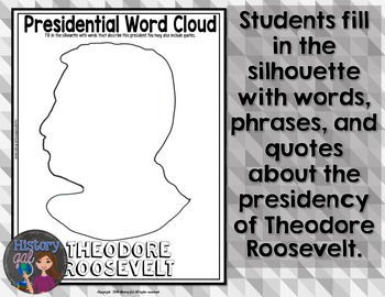 Theodore Roosevelt Coloring Page and Word Cloud Activity