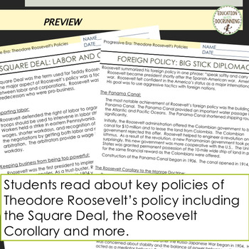 Theodore Roosevelt Policies Reading and 7 Activities for the Progressive Era