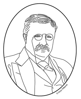 Theodore Roosevelt (26th President) Clip Art, Coloring Page or Mini Poster