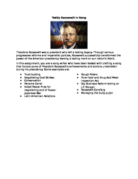 Theodore Roosevelt Song Activity