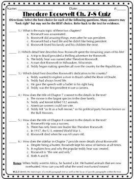 Theodore Roosevelt The Adventurous President Chapters 7-8 Quiz
