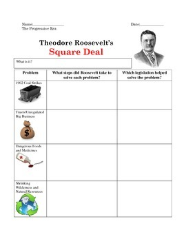 Theodore Roosevelt's Square Deal-Graphic Organizer