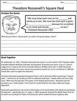 Theodore Roosevelt's Square Deal - Graphic Organizer & Overview