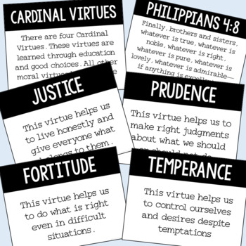 Theological And Cardinal Virtues Posters and Mini Book Set