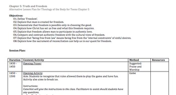 Theology of the Body for Teens Chapter 5 Truth and Freedom Alt Session Plan