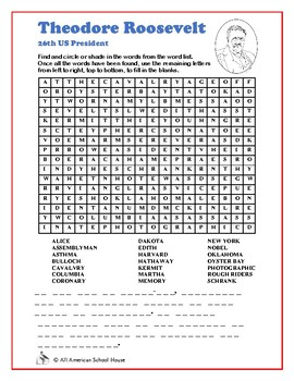 Theordore Roosevelt - Presidents Word Search and Fill in the Blanks