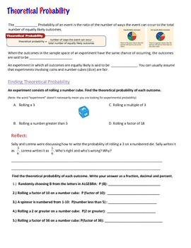 Theoretical Probability Guided Notes, Practice, and Application