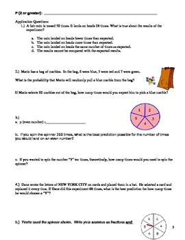 Theoretical Probability Guided Notes, Practice, and Application w/ Answer Key