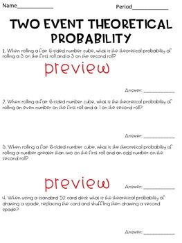 Theoretical Probability Worksheet