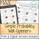 Theoretical Probability of Simple Events Maze - With Spinners Worksheet
