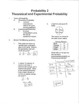 Algebra: Probability 2:  Theoretical and Experimental Probability
