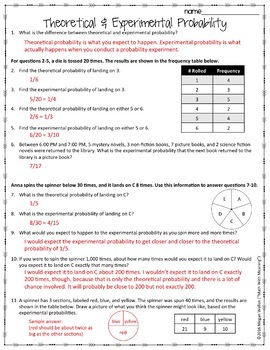Theoretical and Experimental Probability Worksheet by Math With Meaning