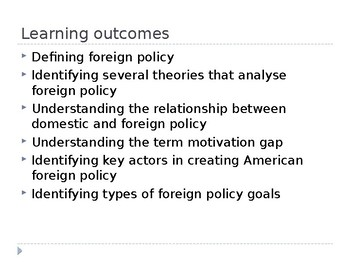 Theoretical framework on US Foreign Policy