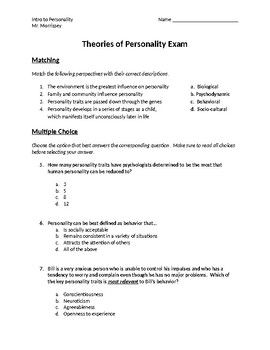 Theories of Personality Exam