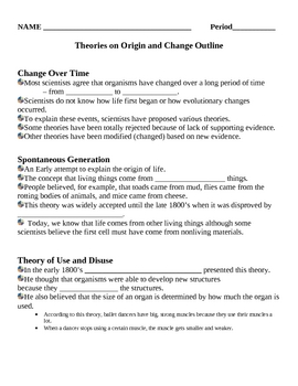 Theories on origin and change evolution notes outline lesson plan thecheapjerseys Image collections