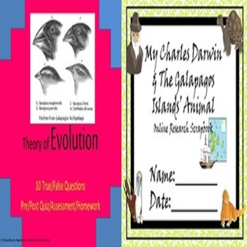 Theory of Evolution Quiz & Charles Darwin Galapagos Animals Scrapbook SPED