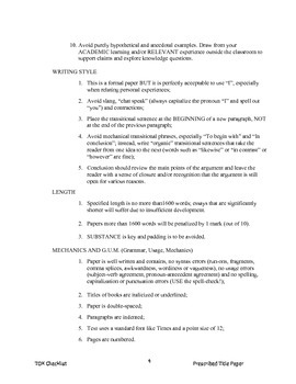 Theory of Knowledge Prescribed Essay Title Checklist