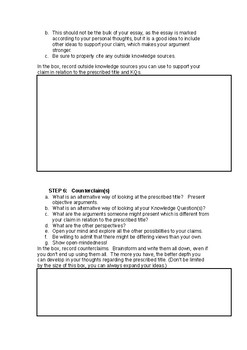 Theory of Knowledge (TOK) Essay Planning Document:  FULL ESSAY (Steps 1 - 11)