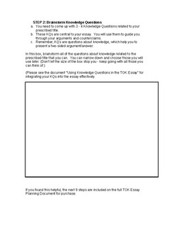 Theory of Knowledge (TOK) Essay Planning Document, Steps 1 and 2
