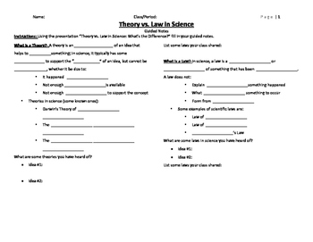 Theory vs. Law in Science Guided Notes