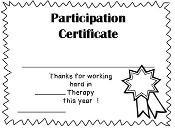 Therapy Award or Certificate Freebie