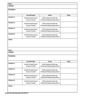 Therapy Data Collection Sheet