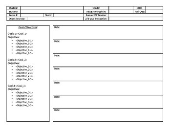Therapy Data Collection Sheet TEMPLATE (Editable)