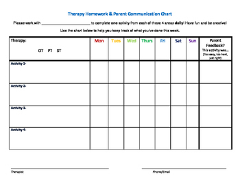 Therapy Homework & Parent Communication Chart