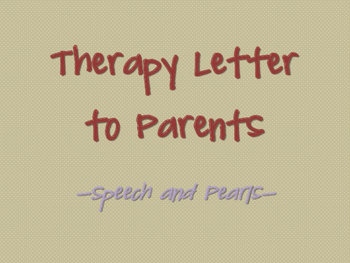 Therapy Letter to Parents