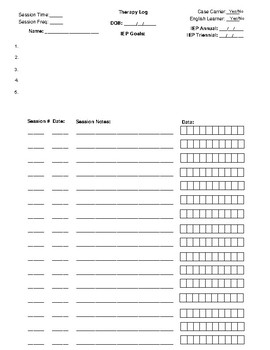 Therapy Log Template with Data Slots
