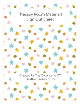 Therapy Materials Sign Out Sheet
