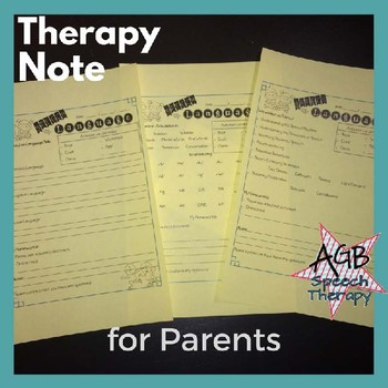 Therapy Notes for Parents