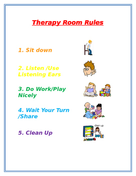 Therapy Room Rules Chart