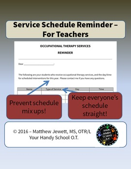 Therapy Schedule - Reminder for Teachers