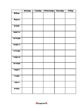 Therapy Schedule Template PDF