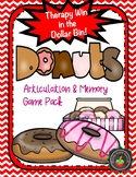 Donut Theme Articulation and Memory Game Pack: Therapy Win in the Dollar Bin