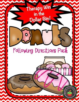 Therapy Win in the Dollar Bin Donut Theme Following Directions Pack