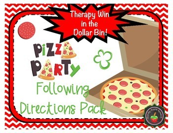 Therapy Win in the Dollar Bin Pizza Theme Following Directions Pack