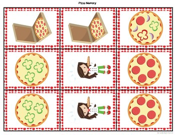 Pizza Theme Memory Game Freebie: Therapy Win in the Dollar Bin